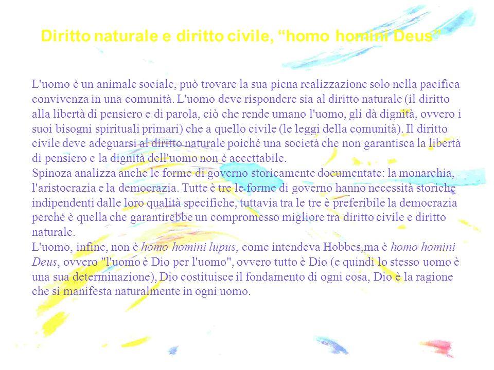 Diritto naturale e diritto civile, homo homini Deus