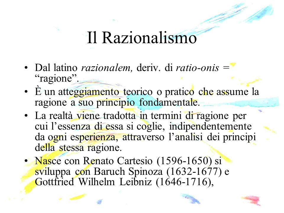 Il Razionalismo Dal latino razionalem, deriv. di ratio-onis = ragione .
