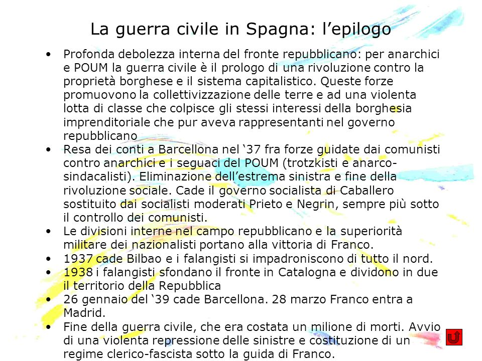 La guerra civile in Spagna: l'epilogo