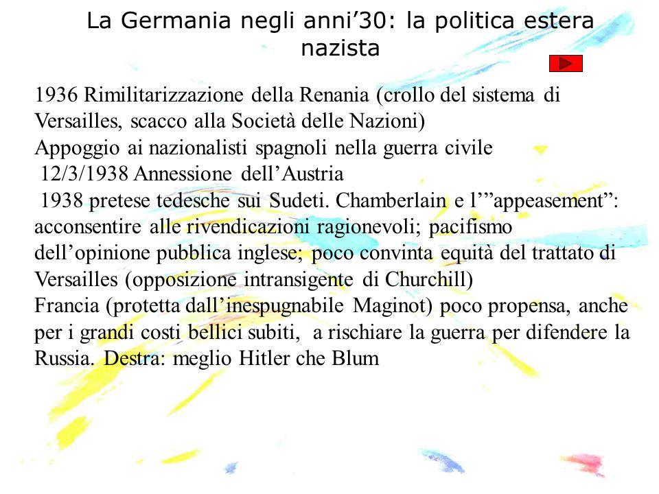 La Germania negli anni'30: la politica estera nazista