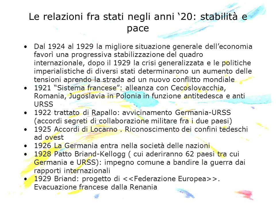 Le relazioni fra stati negli anni '20: stabilità e pace