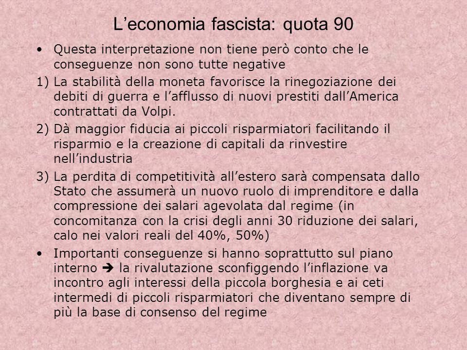 L'economia fascista: quota 90