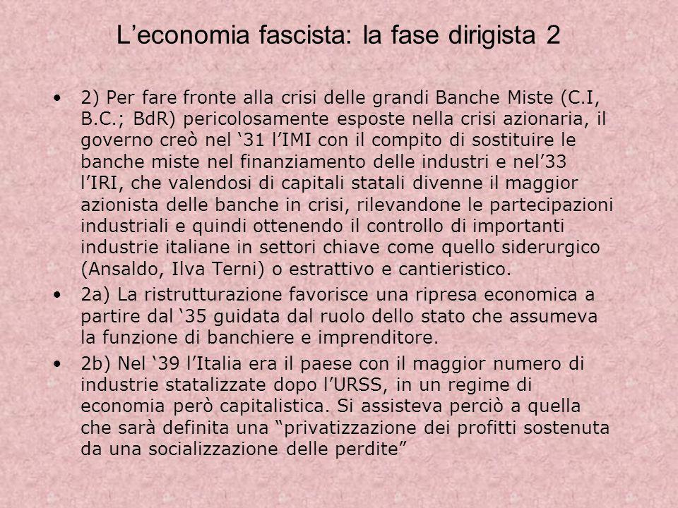 L'economia fascista: la fase dirigista 2
