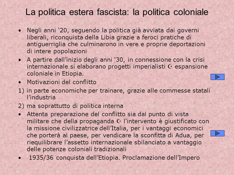 La politica estera fascista: la politica coloniale