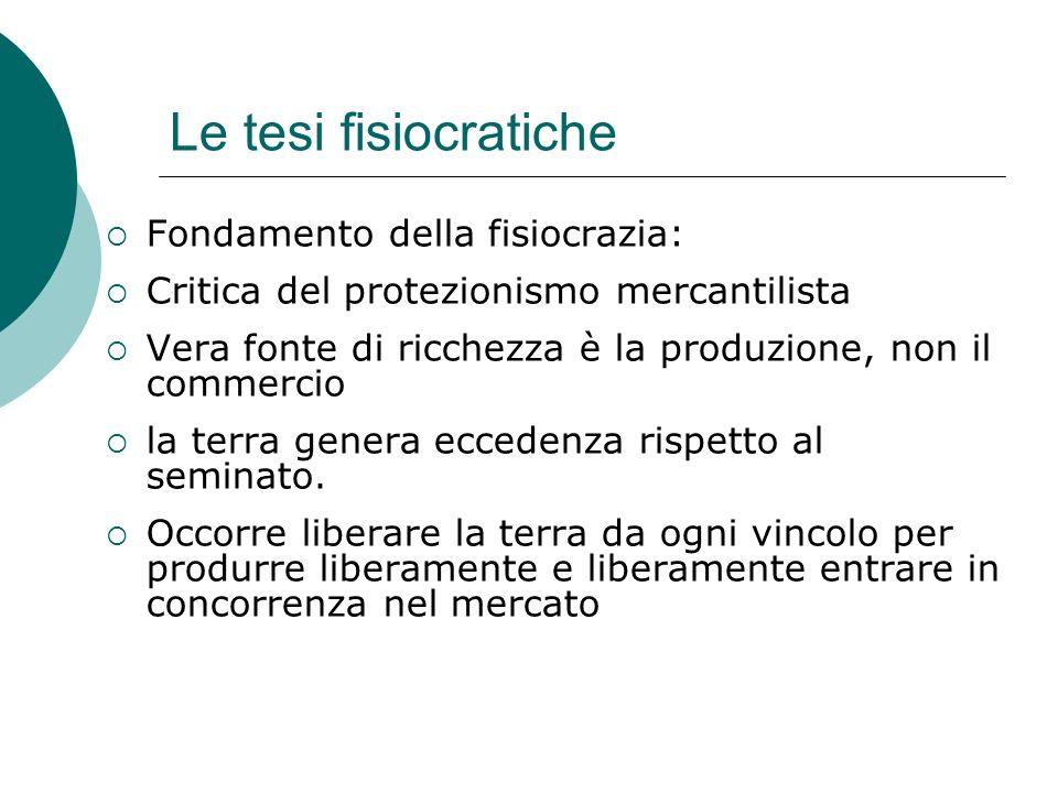 Le tesi fisiocratiche Fondamento della fisiocrazia: