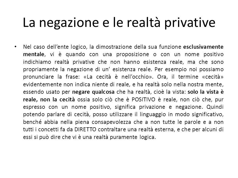 La negazione e le realtà privative