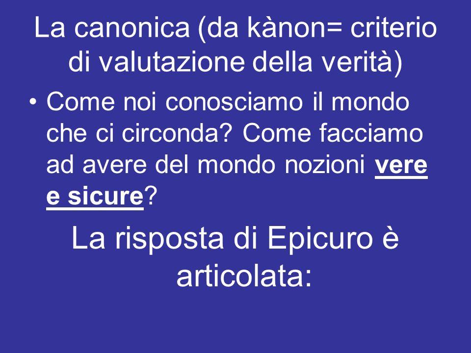 La risposta di Epicuro è articolata:
