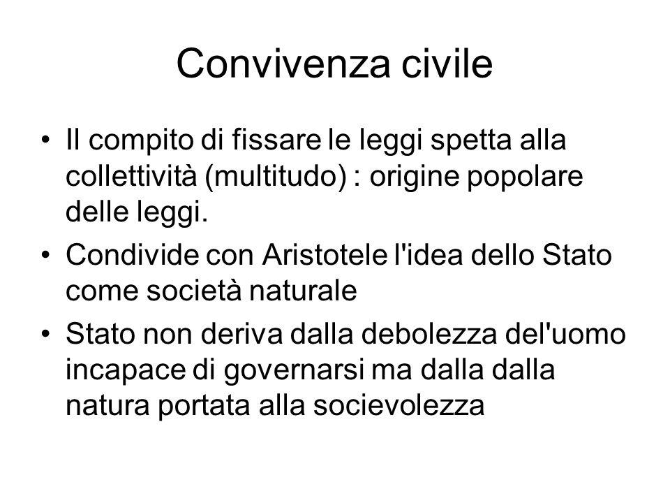 Convivenza civile Il compito di fissare le leggi spetta alla collettività (multitudo) : origine popolare delle leggi.
