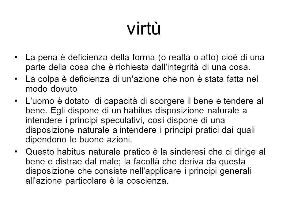 virtù La pena è deficienza della forma (o realtà o atto) cioè di una parte della cosa che è richiesta dall integrità di una cosa.