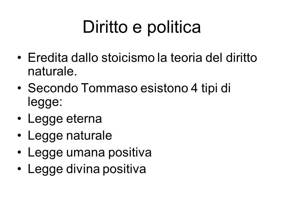 Diritto e politica Eredita dallo stoicismo la teoria del diritto naturale. Secondo Tommaso esistono 4 tipi di legge: