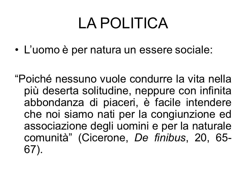 LA POLITICA L'uomo è per natura un essere sociale:
