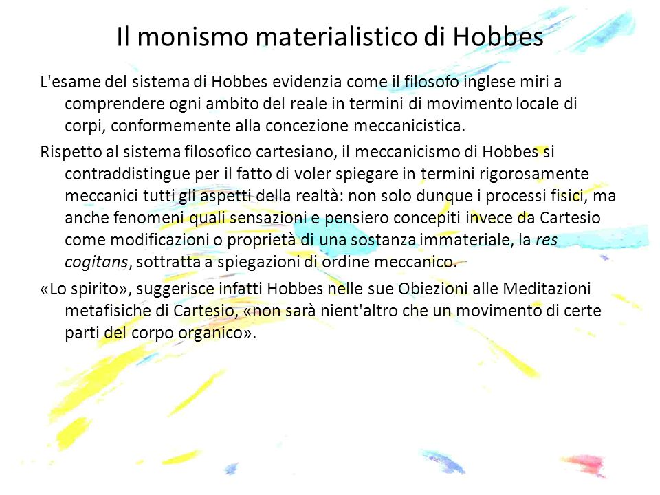 Il monismo materialistico di Hobbes