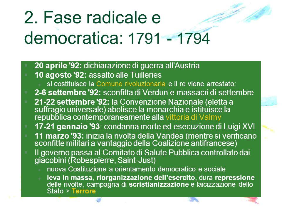 2. Fase radicale e democratica: 1791 - 1794