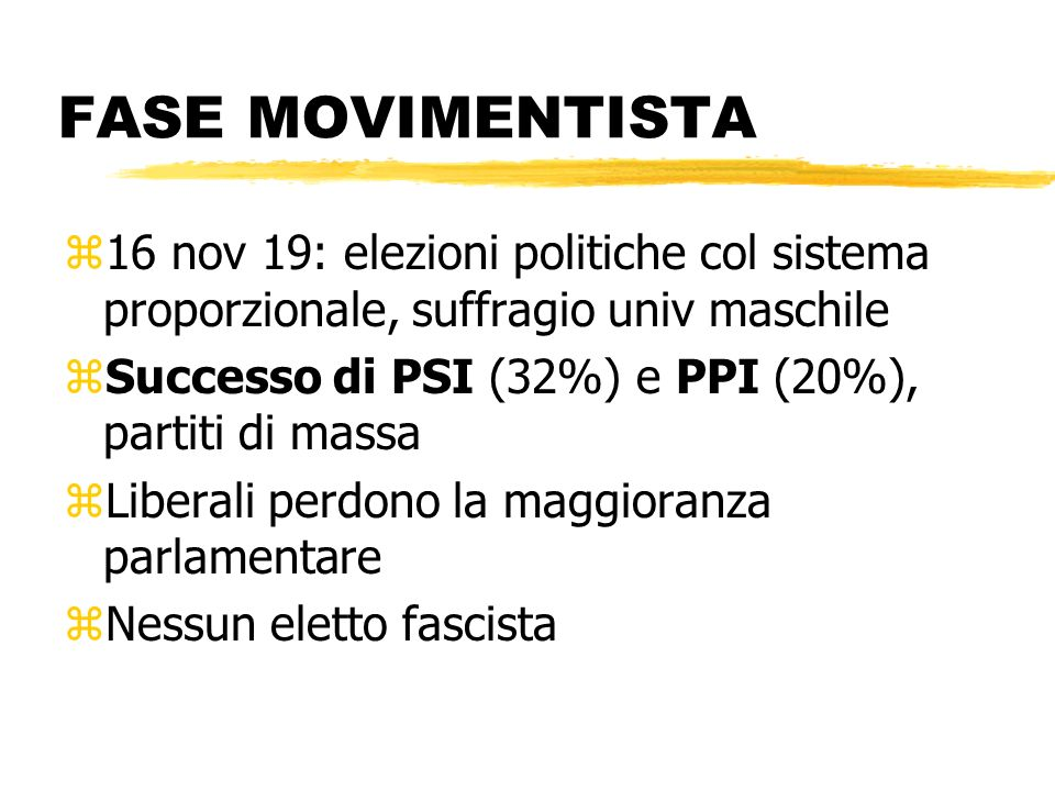 FASE MOVIMENTISTA16 nov 19: elezioni politiche col sistema proporzionale, suffragio univ maschile.