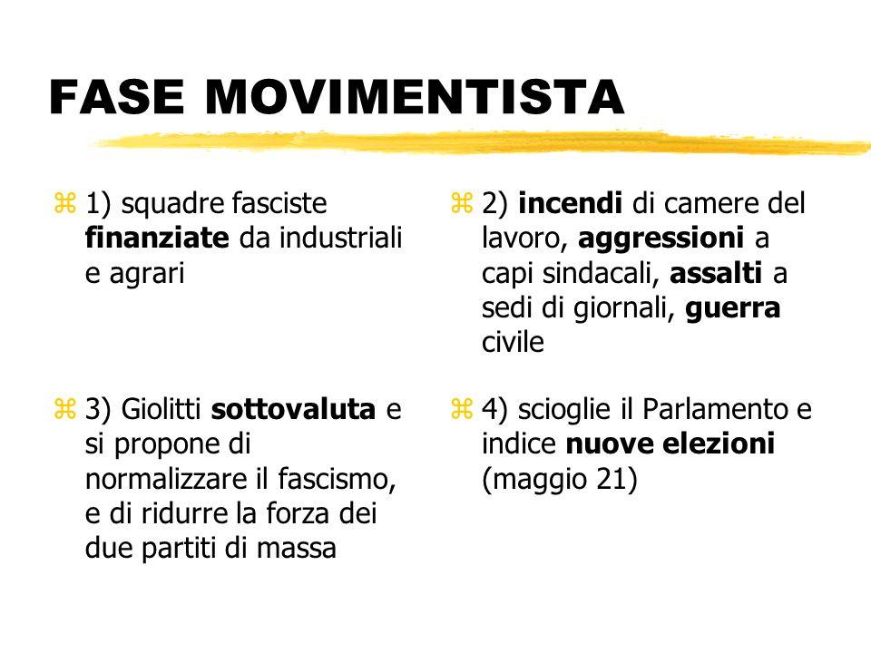 FASE MOVIMENTISTA1) squadre fasciste finanziate da industriali e agrari.