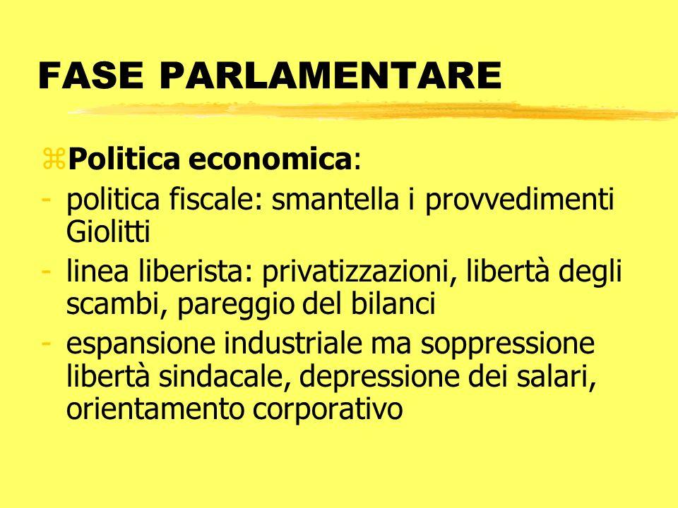 FASE PARLAMENTARE Politica economica: