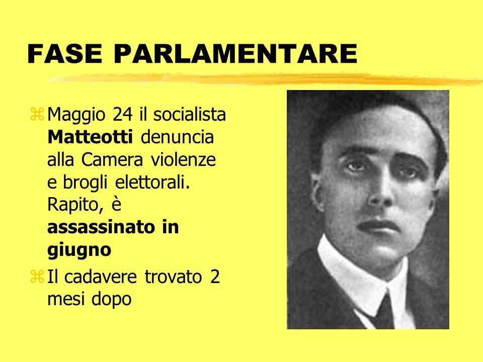 FASE PARLAMENTARE Maggio 24 il socialista Matteotti denuncia alla Camera violenze e brogli elettorali. Rapito, è assassinato in giugno.