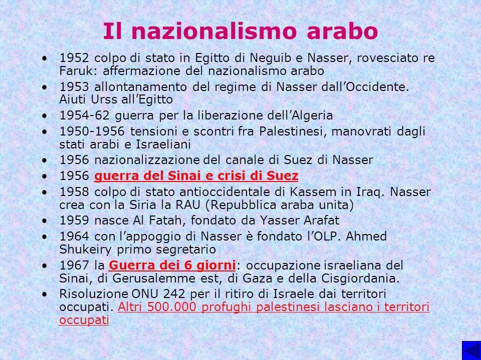 Il nazionalismo arabo 1952 colpo di stato in Egitto di Neguib e Nasser, rovesciato re Faruk: affermazione del nazionalismo arabo.
