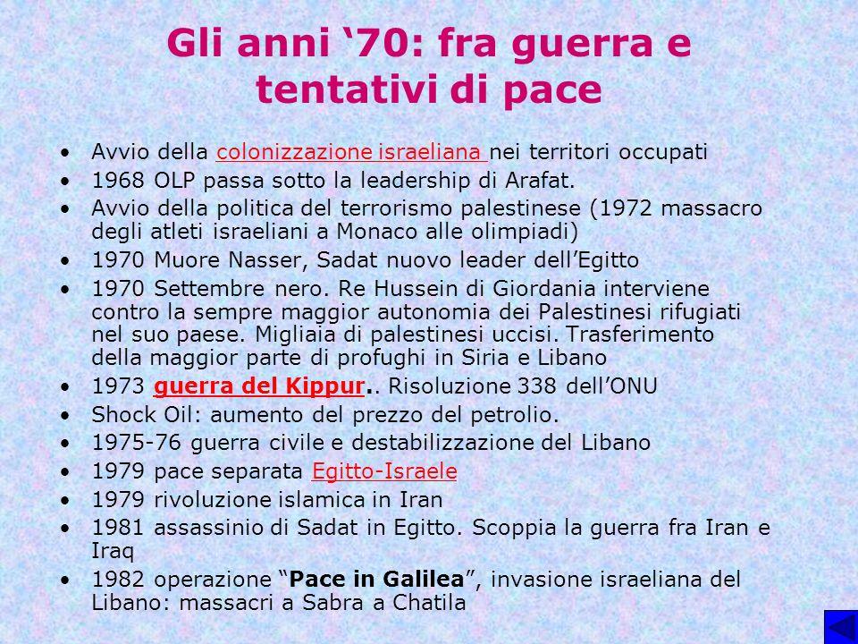 Gli anni '70: fra guerra e tentativi di pace