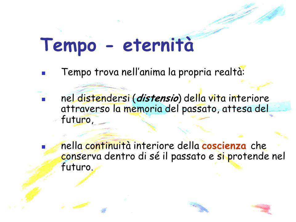 Tempo - eternità Tempo trova nell'anima la propria realtà: