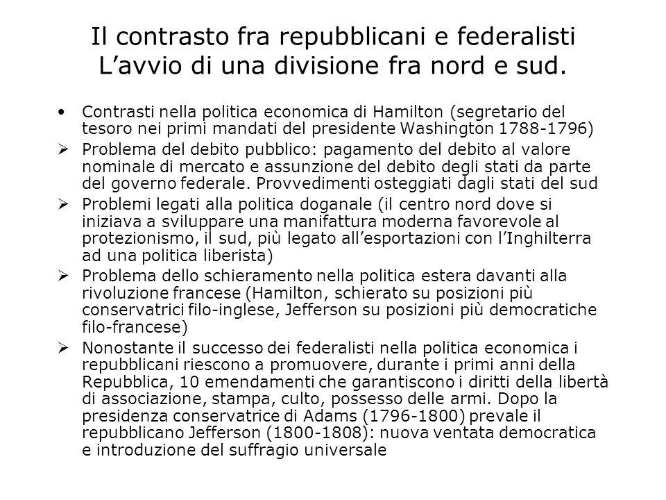 Il contrasto fra repubblicani e federalisti L'avvio di una divisione fra nord e sud.