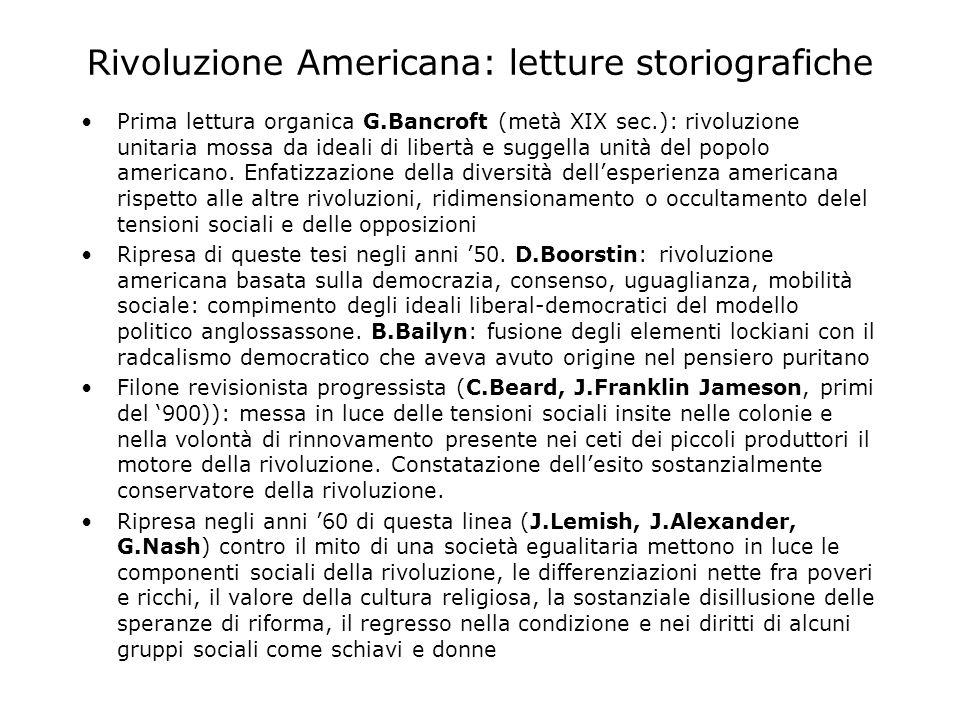 Rivoluzione Americana: letture storiografiche