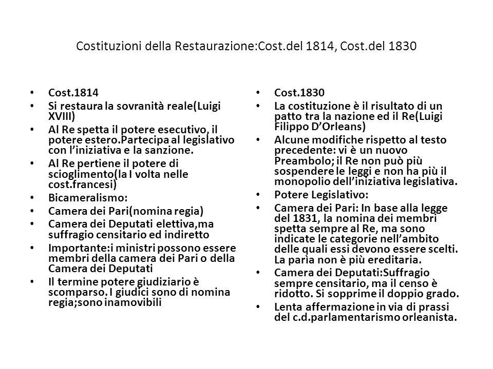 Costituzioni della Restaurazione:Cost.del 1814, Cost.del 1830