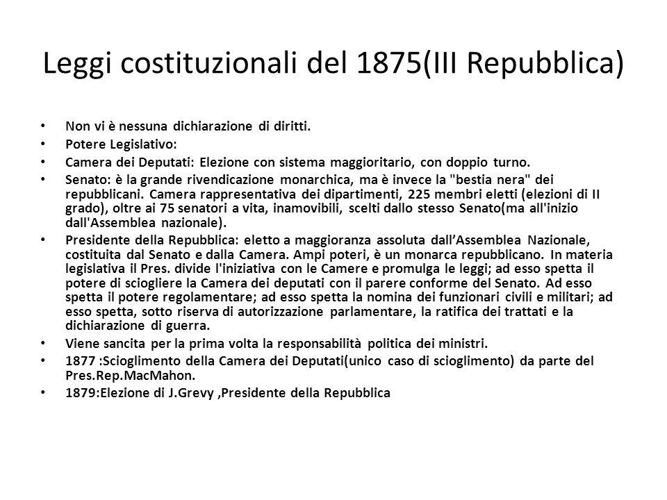 Leggi costituzionali del 1875(III Repubblica)