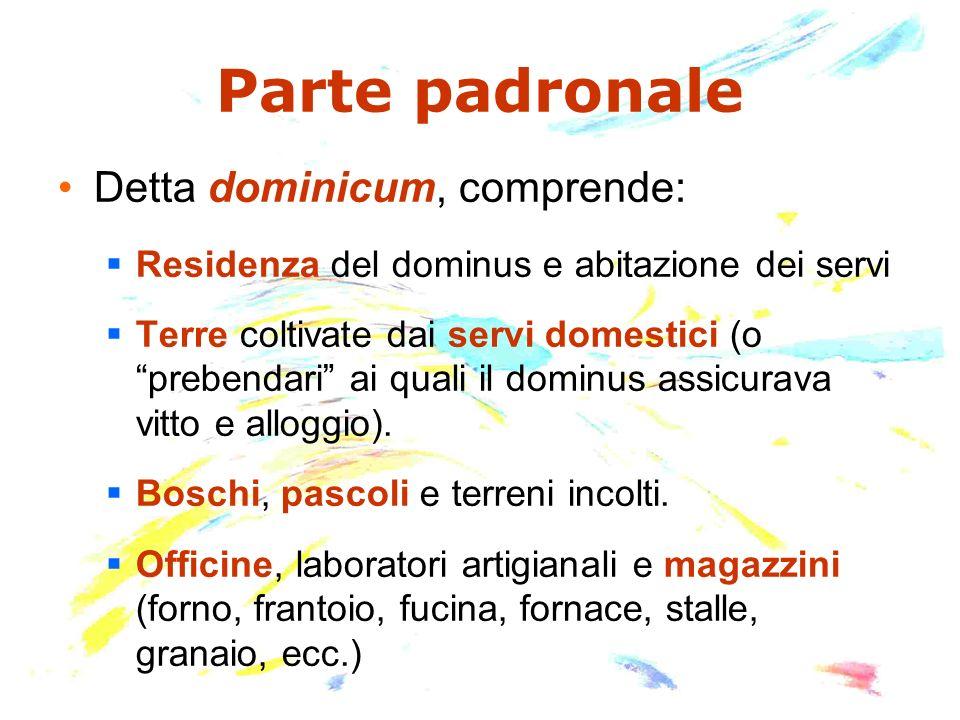 Parte padronale Detta dominicum, comprende: