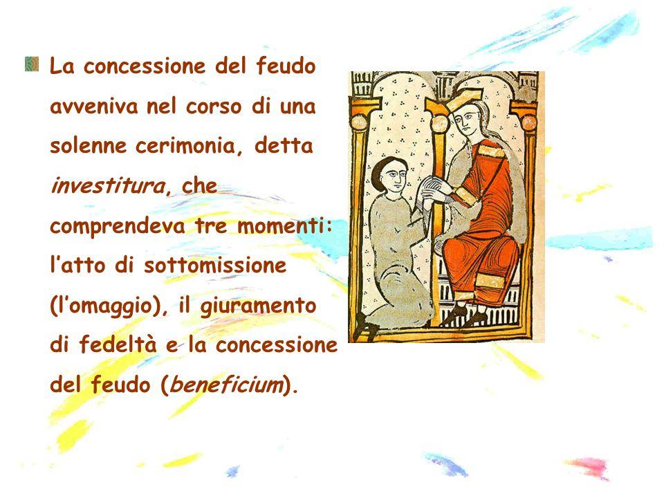 La concessione del feudo avveniva nel corso di una solenne cerimonia, detta investitura, che comprendeva tre momenti: l'atto di sottomissione (l'omaggio), il giuramento di fedeltà e la concessione del feudo (beneficium).