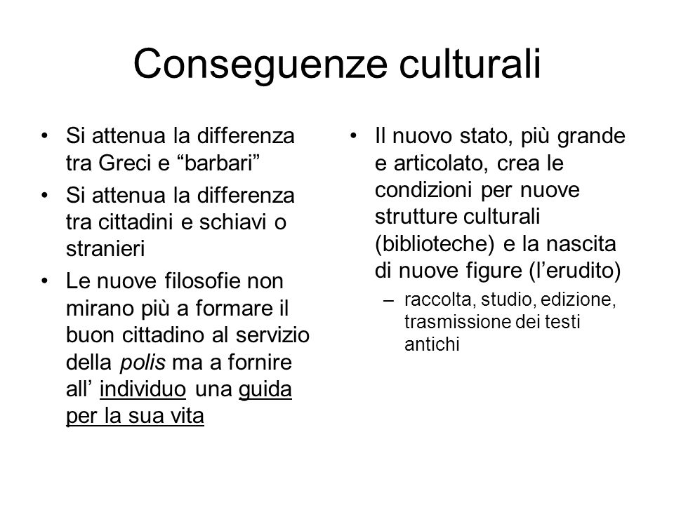 Conseguenze culturali