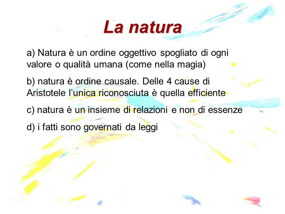 La natura a) Natura è un ordine oggettivo spogliato di ogni valore o qualità umana (come nella magia)
