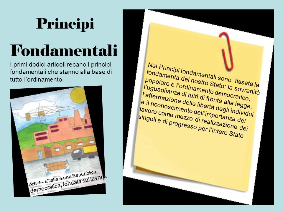 Fondamentali Principi Nei Principi fondamentali sono fissate le