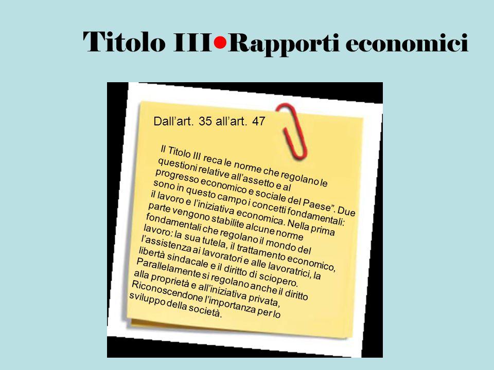 Titolo III•Rapporti economici
