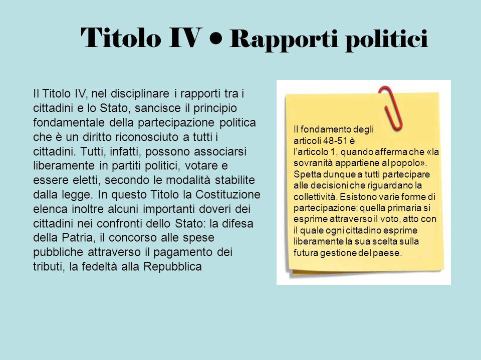 Titolo IV • Rapporti politici