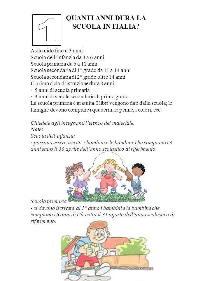 1 QUANTI ANNI DURA LA SCUOLA IN ITALIA Asilo nido fino a 3 anni