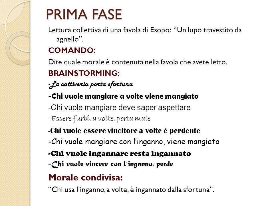 PRIMA FASE Morale condivisa: