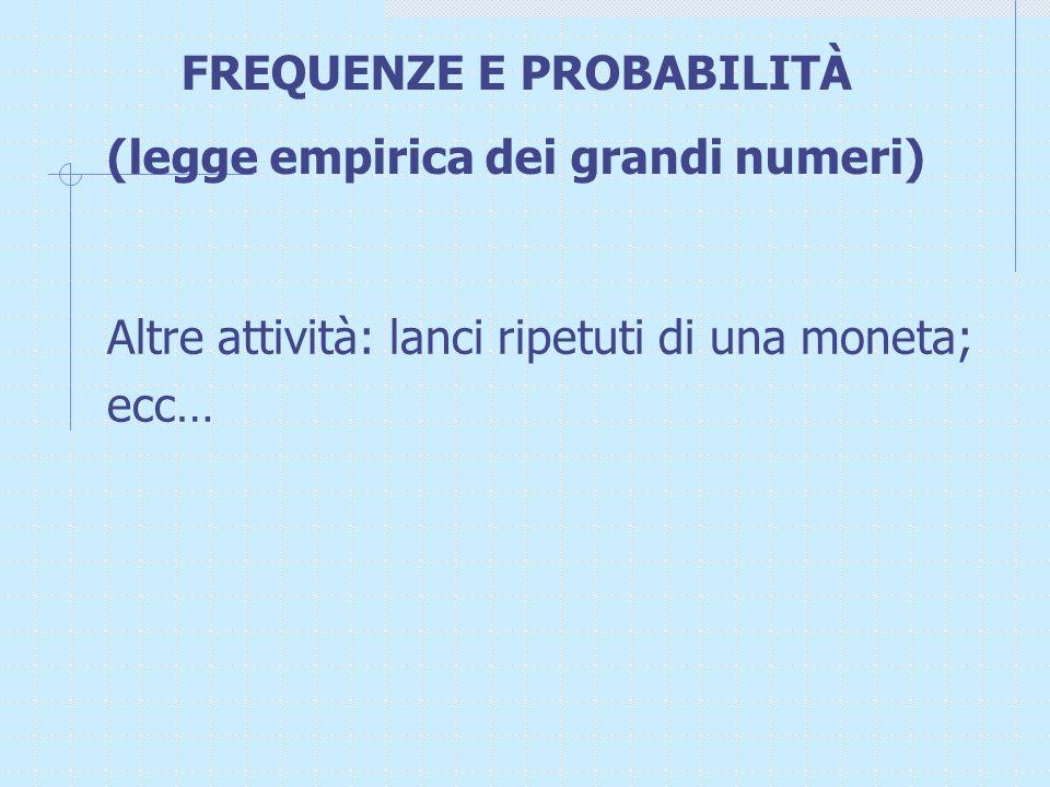 FREQUENZE E PROBABILITÀ (legge empirica dei grandi numeri)