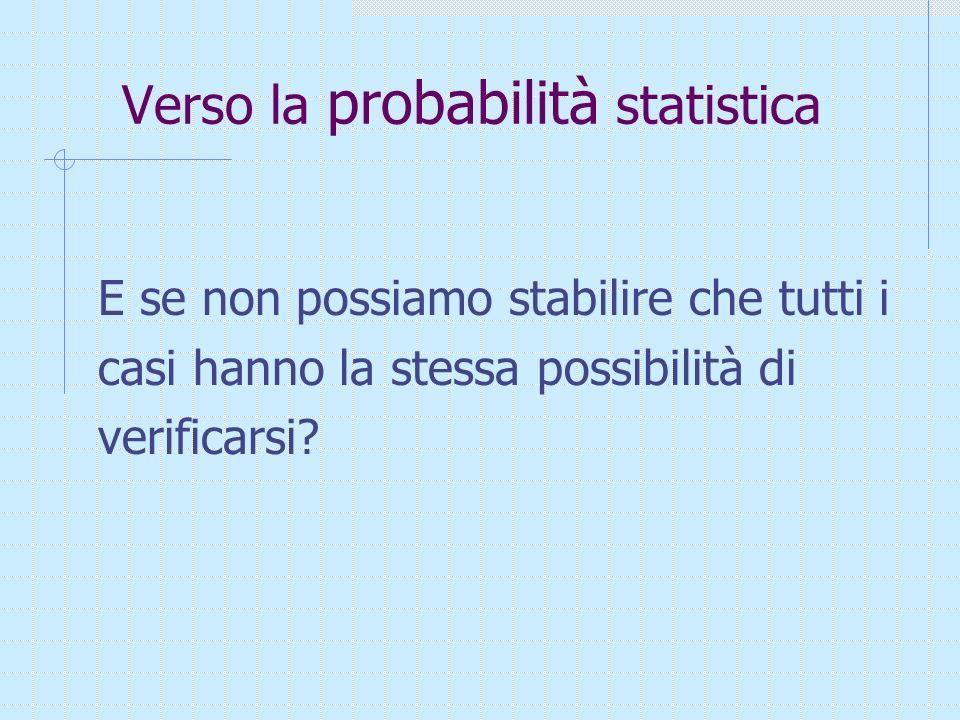 Verso la probabilità statistica