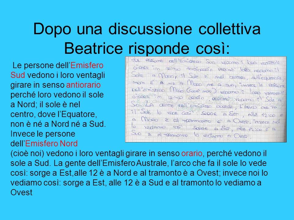 Dopo una discussione collettiva Beatrice risponde così: