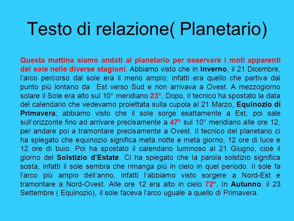 Testo di relazione( Planetario)