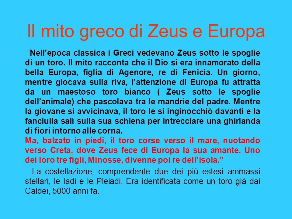 Il mito greco di Zeus e Europa