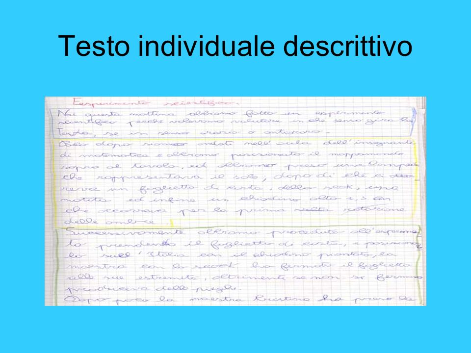 Testo individuale descrittivo