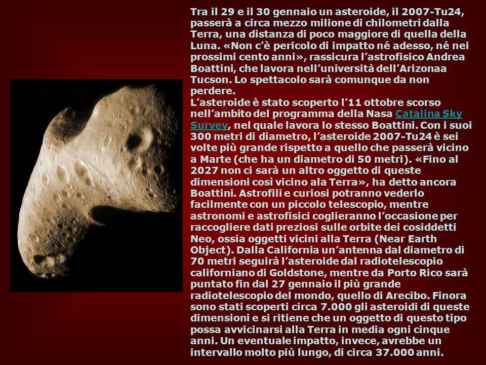 Tra il 29 e il 30 gennaio un asteroide, il 2007-Tu24, passerà a circa mezzo milione di chilometri dalla Terra, una distanza di poco maggiore di quella della Luna. «Non c'è pericolo di impatto né adesso, né nei prossimi cento anni», rassicura l'astrofisico Andrea Boattini, che lavora nell'università dell'Arizonaa Tucson. Lo spettacolo sarà comunque da non perdere.