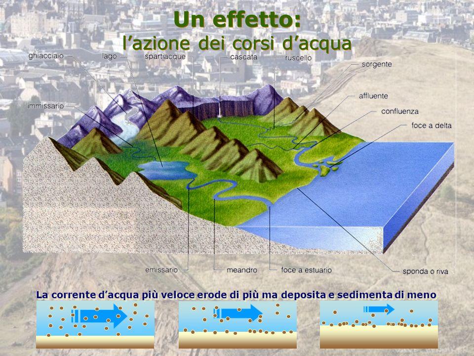 Un effetto: l'azione dei corsi d'acqua