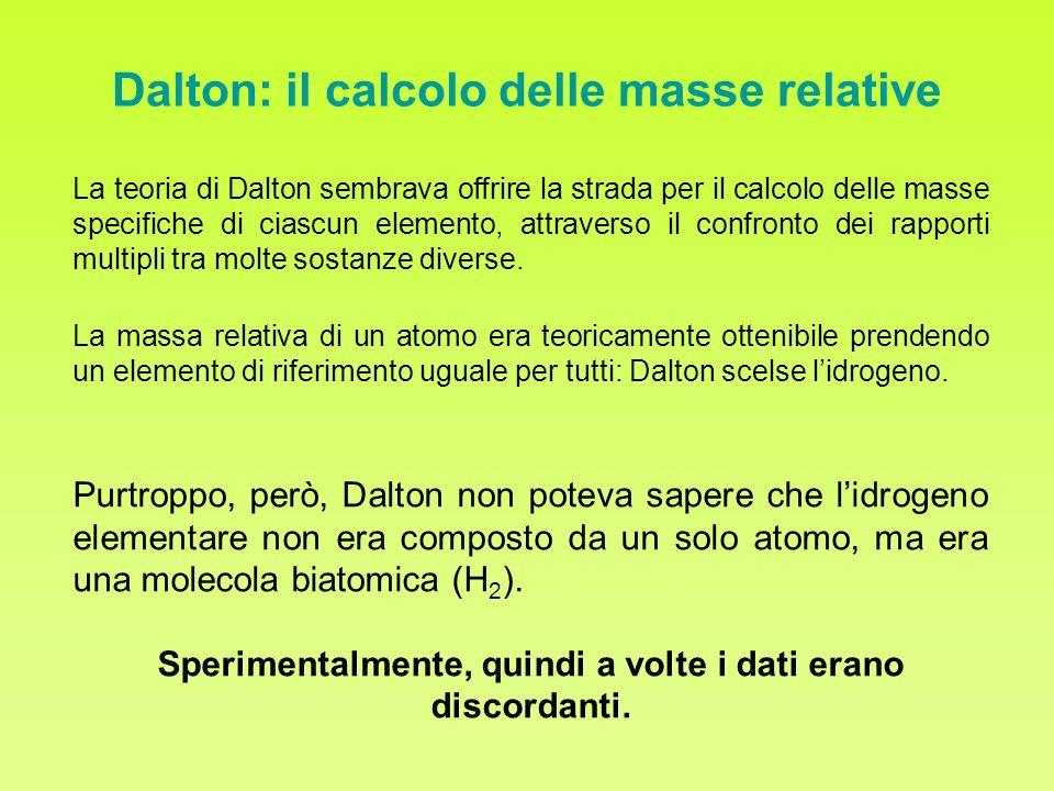 Dalton: il calcolo delle masse relative