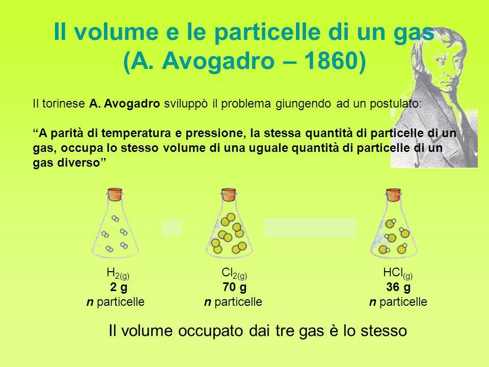 Il volume e le particelle di un gas (A. Avogadro – 1860)