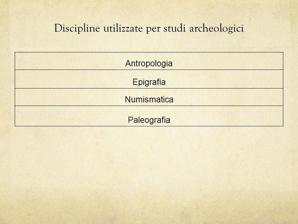 Discipline utilizzate per studi archeologici