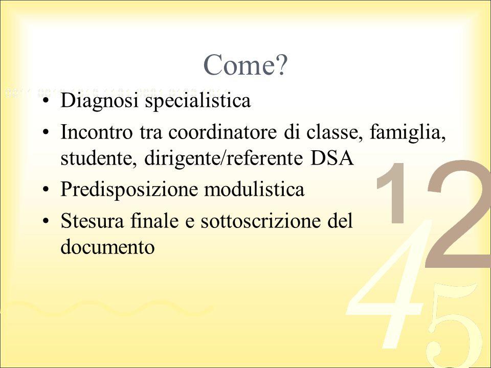 Come Diagnosi specialistica