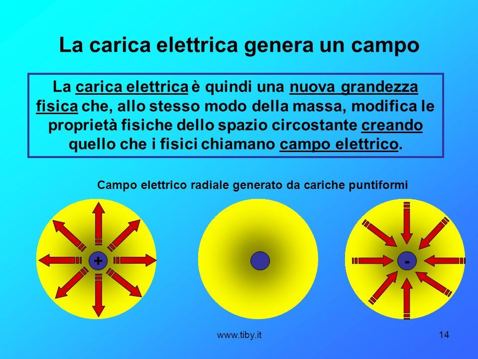 La carica elettrica genera un campo